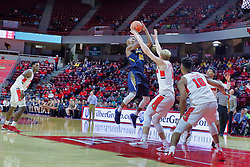 NORMAL, IL - November 03: Chrishawn Orange hits from the lane defended by Isaac Gassman during a college basketball game between the ISU Redbirds  and the Augustana Vikings on November 03 2018 at Redbird Arena in Normal, IL. (Photo by Alan Look)