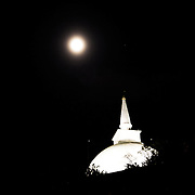 Mihintale mountain and Ambasthala Dagaba during the Vesak full moon. Full moon scheddule the years in Sri Lanka.