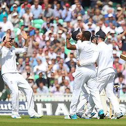 England players celebrate the wicket of India's Ajinkya Rahane for 0 and England's  during the first day of the Investec 5th Test match between England and India at the Kia Oval, London, 15th August 2014 © Phil Duncan | SportPix.org.uk