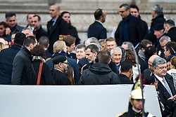 King Mohammed VI of Morocco (center, to left) and King Felipe VI of Spain talk as they leave Arc de Triomphe after a ceremony gathering heads of State around French president Emmanuel Macron to commemorate the 100th year of end of World War I, on November 11, 2018 in Paris, France. Photo by Ammar Abd Rabbo/ABACAPRESS.COM