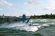 View of American Falls, a part of Niagara Falls, from Luna Island, Buffalo, New York, USA.