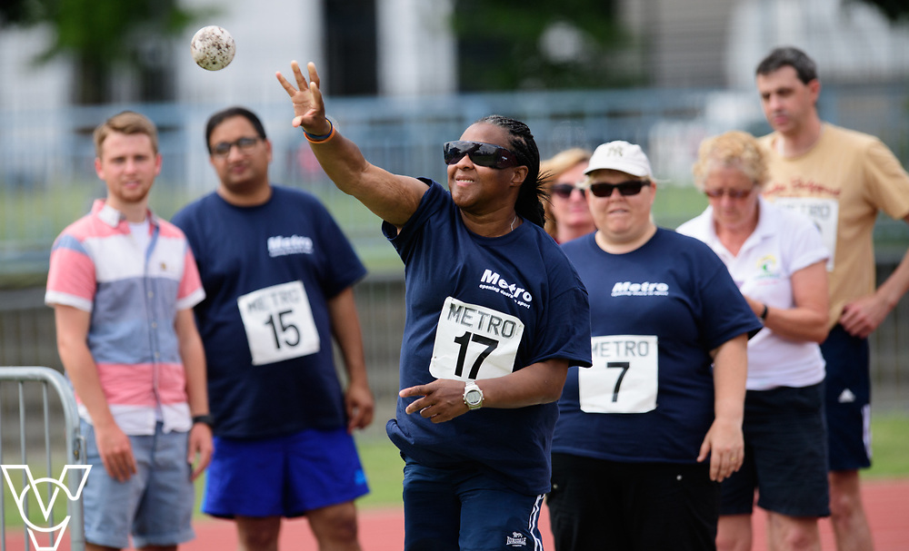 Metro Blind Sport's 2017 Athletics Open held at Mile End Stadium.  Shot put.  Camille Elliot-Kamara<br /> <br /> Picture: Chris Vaughan Photography for Metro Blind Sport<br /> Date: June 17, 2017