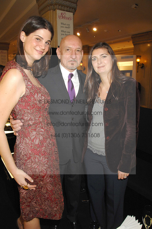 Left to right, KATRINA PAVLOS, SIR BEN KINGSLEY and VANESSA WINGATE at a party to celebrate the 5th anniversary of Grand Classics held at the Dom Perignon OEnotheque Bar at Harrods, Knightsbridge, London on 14th February 2008.<br />