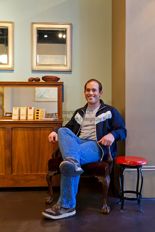 Xocolatl Chocolate owner David Briggs at Cacao, one of the artisan chocolate stores in Portland that carries his products.