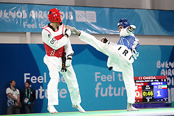 BUENOS AIRES, Oct. 12, 2018  Mohammadali Khosrarvi (L) of Iran competes with Lee Meng-En of Chinese Taipei during the men's +73kg final of taekwondo event at the 2018 Summer Youth Olympic Games in Buenos Aires, Argentina on Oct. 11, 2018. Mohammadali Khosrarvi won 2-1. (Credit Image: © Li Ming/Xinhua via ZUMA Wire)