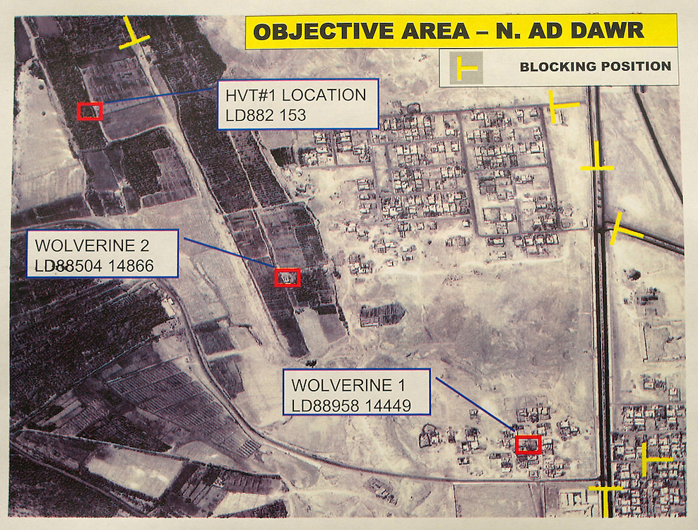 17th December 2003 .Tikrit, Iraq..US Army diagram of 'Operation Red Dawn'.A US Army plan shows the location of targets for Operation Red Dawn in which Saddam was captured.