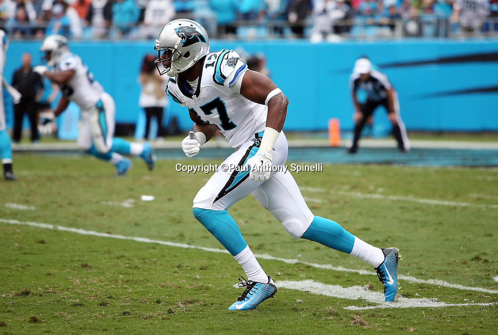Carolina Panthers rookie wide receiver Devin Funchess (17) goes out for a pass during the 2015 NFL week 3 regular season football game against the New Orleans Saints on Sunday, Sept. 27, 2015 in Charlotte, N.C. The Panthers won the game 27-22. (©Paul Anthony Spinelli)