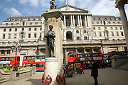 The Bank of England, Threadneedle Street, City of London, London view from first world war memorial in front of the Royal Exchange.