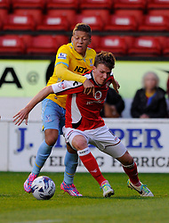 Crystal Palace's Dwight Gayle fouls Walsall's Paul Downing - Photo mandatory by-line: Dougie Allward/JMP - Mobile: 07966 386802 26/08/2014 - SPORT - FOOTBALL - Walsall - Bescot Stadium - Walsall v Crystal Palace - Capital One Cup