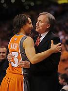 Mar. 26 2010; Phoenix, AZ, USA; Phoenix Suns guard Steve Nash (13) and New York Knicks head coach Mike D'Anoni hug prior to the first half at the US Airways Center.  Mandatory Credit: Jennifer Stewart-US PRESSWIRE.