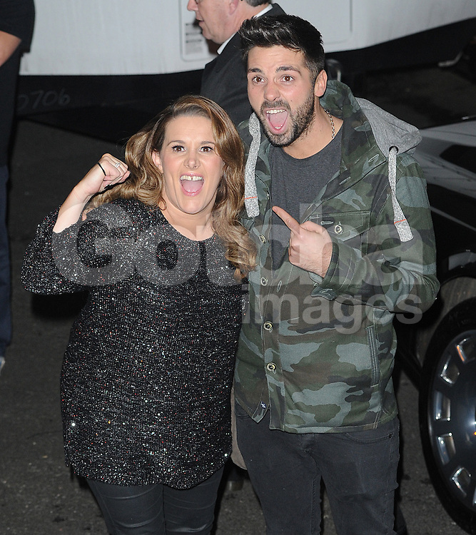 Sam Bailey and Ben Haenow leaving the X Factor studios in Wembley, UK. 07/12/2014<br />