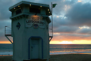 Lifeguard Tower At Sunset Laguna Beach California