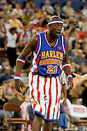 "04 May 2006: Kevin ""Special K"" Daley over reacts to a call during the Harlem Globetrotters vs the New York Nationals at the Sulivan Arena in Anchorage Alaska during their 80th Anniversary World Tour.  This is the first time in 10 years that the Trotters have visited Alaska."