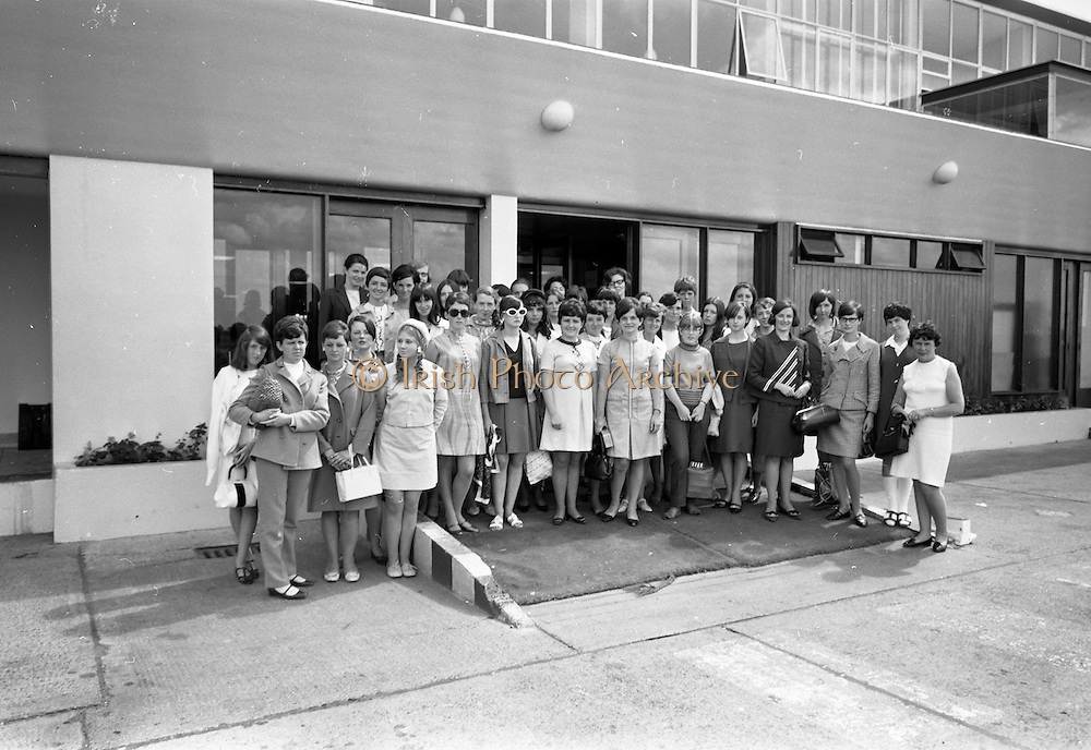 23/07/1967<br /> 07/23/1967<br /> 23 July 1967<br /> Arrival of group of students from Paris at Dublin Airport. Image shows the group of 37 students outside the Terminal building at the Airport.
