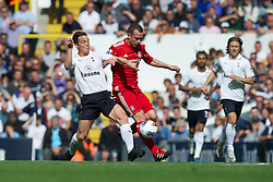 LONDON, ENGLAND - Sunday, September 18, 2011: Liverpool's Charlie Adam and Tottenham Hotspur's Scott Parker during the Premiership match at White Hart Lane. (Pic by David Rawcliffe/Propaganda)
