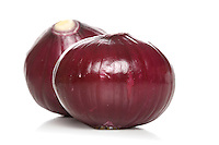 Red onion on white background - studio shot