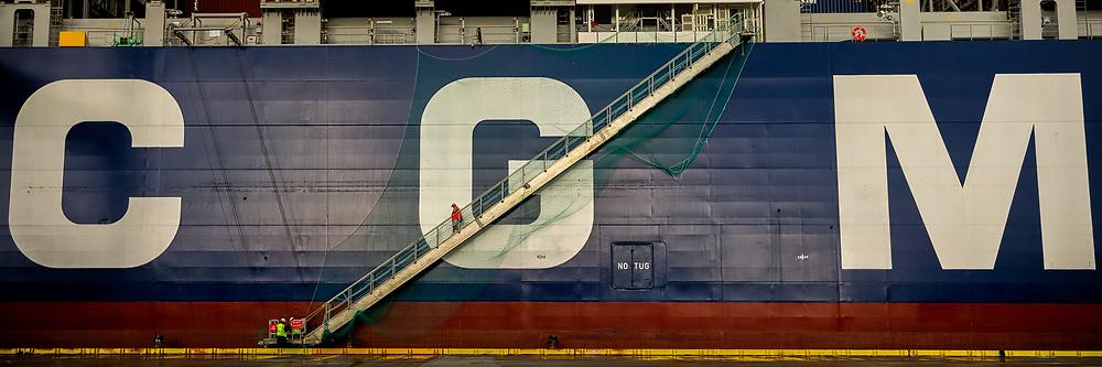 The 14,000 TEU container ship CMA CGM Theodore Roosevelt docks at the Georgia Ports Authority Garden City Terminal to being unloading cargo, Friday, Sept., 1, 2017, Garden City, Ga.  (GPA Photo/Stephen Morton)