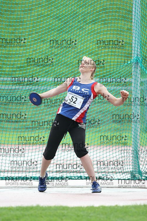 (Sherbrooke, Quebec---10 August 2008) \NY52\ competing in the youth girls discus at the 2008 Canadian National Youth and Royal Canadian Legion Track and Field Championships in Sherbrooke, Quebec. The photograph is copyright Sean Burges/Mundo Sport Images, 2008. More information can be found at www.msievents.com.