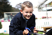 A young budding jockey on the execiser  during the Newby and the Press Family Raceday at York Racecourse, York, United Kingdom on 9 September 2018. Picture by Mick Atkins.