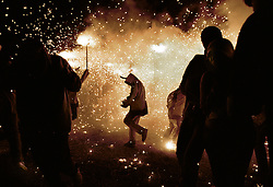 Fireworkds during the Carrefoc procession, 10 oct 1998, Cervera, Spain.