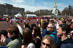 © Licensed to London News Pictures. 21/04/2013. London, UK. Runners pass Buckingham Palace during the Virgin London Marathon 2013 on April 21, 2013 in London, England. Photo credit : Peter Kollanyi/LNP