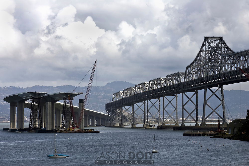 Progress can be seen on the Eastern span of the new Bay Bridge that will connect Treasure Island with Oakland in California. The new 2.18 mile span will be replacing a bridge first built in 1936, that was later called one of the seven engineering wonders of the world and is now considered one of the busiest bridges in the nation, carrying more than 270,000 vehicles in a day...photo by Jason Doiy.4/23/08.042-2008.