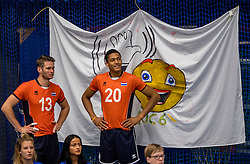 28-08-2016 NED: Nederland - Slowakije, Nieuwegein<br /> Het Nederlands team heeft de oefencampagne tegen Slowakije met een derde overwinning op rij afgesloten. In een uitverkocht Sportcomplex Merwestein won Nederland met 3-0 van Slowakije / Floris van bekom #13, Fabian Plak #20
