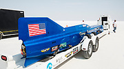 Image of the blue Challenger 2 streamliner racecar driven by Danny Thompson, which broke the piston-powered land speed record at Speed Week 2018 at the Bonneville Salt Flats, Utah, American Southwest