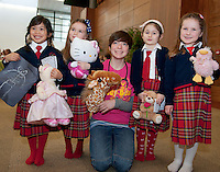 23/01/2014  Giselle Varley, Isabelle Duffy with 2nd year Med Student Orla Hannessy and Tara Geraghty and Isla McDonagh from Carnmore National School  at Teddy Bear Hospital at NUI, Galway where Medical Students got used to dealing with Children and Kids get used to the Hospital procedures. Photo:Andrew Downes.