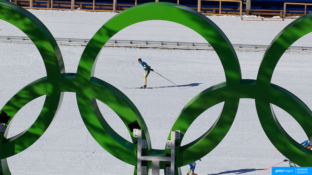 Winter Olympics, Vancouver, 2010.Paul Murray  of Australia (top, middle) practices in view of the Olympics Rings at Whistler Olympic Park Cross Country Skiing Stadium and course in preparation for the event at the Winter Olympics. 9th February 2010. Photo Tim Clayton