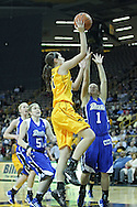 December 20, 2011: Iowa Hawkeyes center Bethany Doolittle (51) puts  up a shot over Drake Bulldogs guard Carly Grenfell (1) during the NCAA women's basketball game between the Drake Bulldogs and the Iowa Hawkeyes at Carver-Hawkeye Arena in Iowa City, Iowa on Tuesday, December 20, 2011. Iowa defeated Drake 71-46.