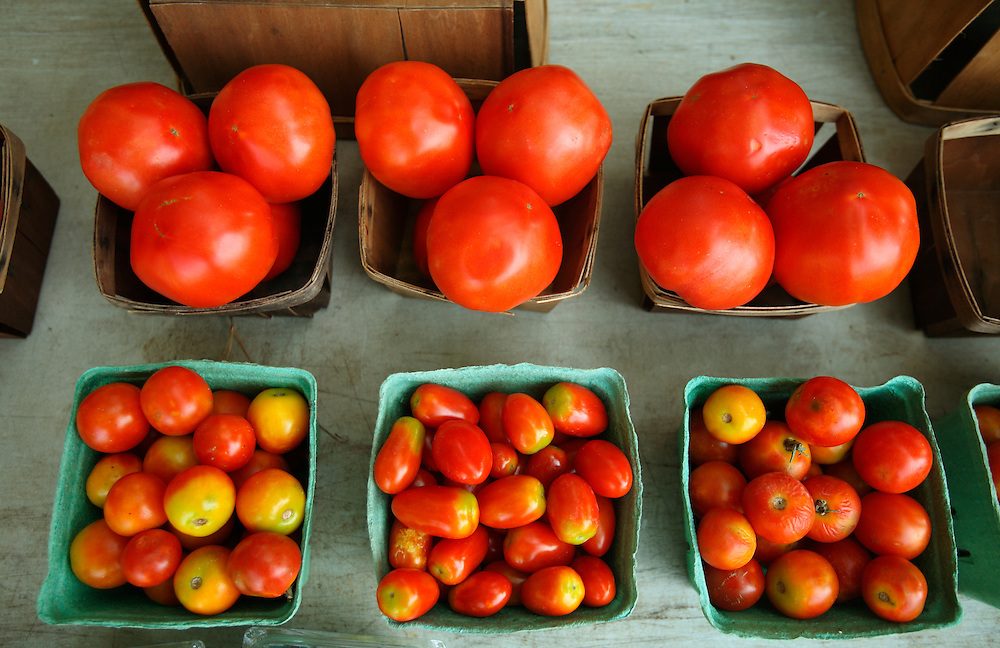 Tomatoes for sale at a roadside produce stand near Wilmington, NC