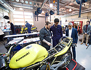 Sadiq Khan, the Mayor of London, officially launches Skills for Londoners &ndash; a new initiative that aims to ensure that all Londoners have the opportunity to train in the skills that the capital&rsquo;s economy needs.<br /> <br /> At South Thames College (Merton Campus) London Rd, Morden, Great Britain on 27th April 2017.<br /> <br /> The Mayor joins students at South Thames College (Merton Campus) who are learning how to repair motorcycles before seeking employment or setting up their own business.<br /> <br /> <br /> <br /> visiting the bike workshop <br /> <br /> <br /> Photograph by Elliott Franks <br /> Image licensed to Elliott Franks Photography Services