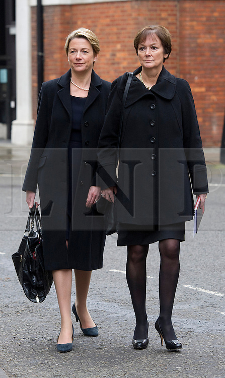 © London News Pictures. 09/02/2013 . London, UK. Fiona Dawson (left), President of The Institute of Grocery Distributors and Joanne Denney-Finch (right), Chief Executive of he Institute of Grocery Distributors leaving the Department for the Environment, Food and Rural Affairs in London after Secretary of State for Environment, Food and Rural Affairs, Owen Paterson held a summit to discuss the unfolding scandal over horsemeat being found in various products.. Photo credit : Ben Cawthra/LNP