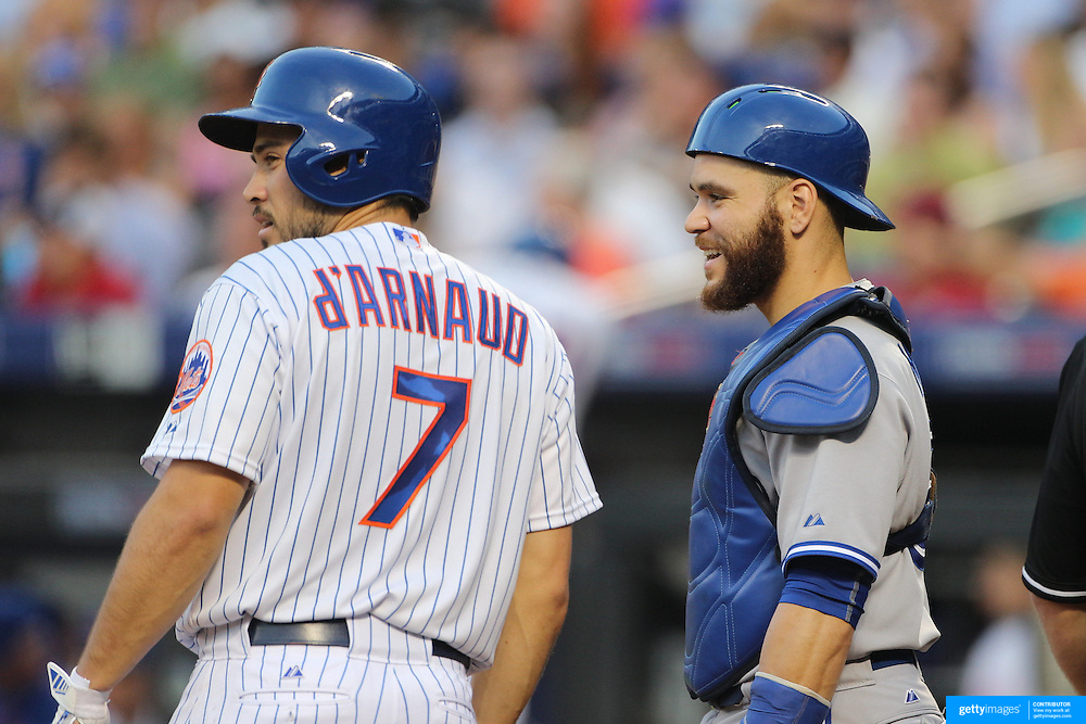 Catchers Travis d'Arnaud, (left), New York Mets, and Russell Martin, Toronto Blue Jays, during the New York Mets Vs Toronto Blue Jays MLB regular season baseball game at Citi Field, Queens, New York. USA. 16th June 2015. Photo Tim Clayton