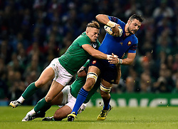 Alexandre Flanquart of France is tackled by Ian Madigan of Ireland - Mandatory byline: Patrick Khachfe/JMP - 07966 386802 - 11/10/2015 - RUGBY UNION - Millennium Stadium - Cardiff, Wales - France v Ireland - Rugby World Cup 2015 Pool D.