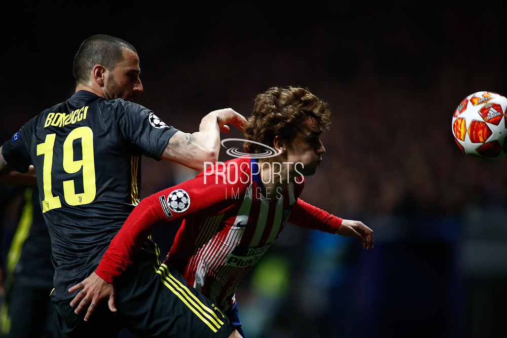 Leonardo Bonucci of Juventus and Antoine Griezmann of Atletico de Madrid during the UEFA Champions League, round of 16, 1st leg football match between Atletico de Madrid and Juventus on February 20, 2019 at Wanda metropolitano stadium in Madrid, Spain - Photo Oscar J Barroso / Spain ProSportsImages / DPPI / ProSportsImages / DPPI