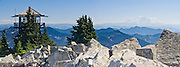 From Granite Mountain Lookout (5629 feet elevation) view Mount Rainier 42 miles to the south on a clear day. Located in Alpine Lakes Wilderness Area, Granite Mountain is a hike of 8 miles with 3800 feet elevation gain, accessed from Exit 47 of Interstate 90 near Seattle, Washington, USA. Panorama stitched from 3 images.