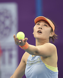 DOHA, Feb. 12, 2018  Duan Yingying of China serves during the single's first round match against Ons Jabeur of Tunisia at the 2018 WTA Qatar Open in Doha, Qatar, on Feb. 12, 2018. Duan Yingying won 2-0. (Credit Image: © Nikku/Xinhua via ZUMA Wire)