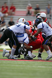 15 September 2012:  Adam Gristick looses his head gear during an NCAA football game between the Eastern Illinois Panthers and the Illinois State Redbirds at Hancock Stadium in Normal IL
