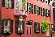Brick houses and gas street lamp on Beacon Hill, Boston, Massachusetts