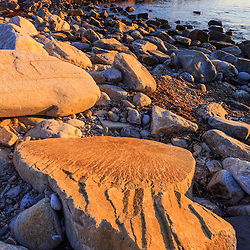 The rocks in Broad Cove on Appledore Island, Maine. Isles of Shoals.