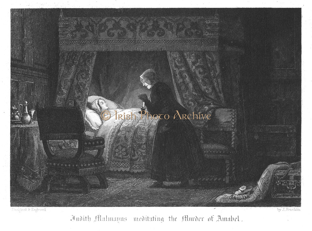 Judith Malmayns, the wicked plague nurse, contemplating the murder of Amabel Bloundel, which she accomplishes by puncturing the girl's neck with a needle infected with the plague. Plague of London (1665). Illustration by John Franklin (active 1800-1861) for William Harrison Ainsworth 'Old Saint Paul's', London 1855 (first published 1841). Engraving