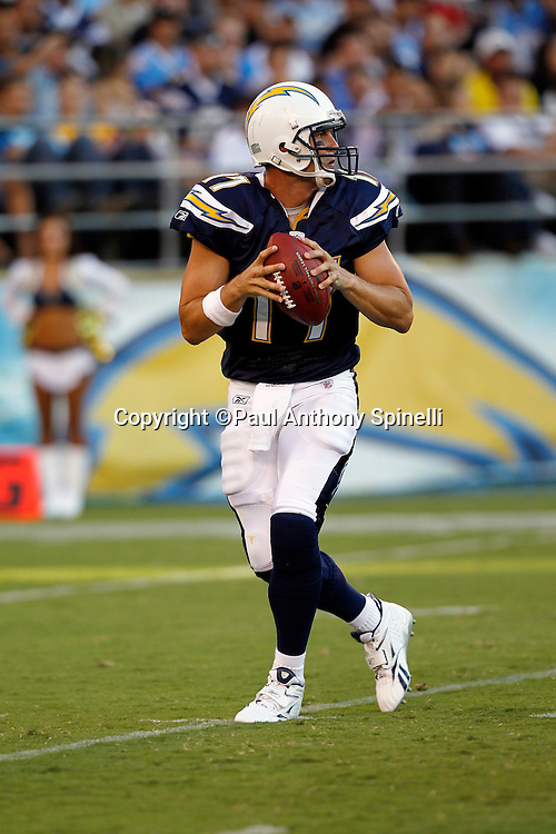 San Diego Chargers quarterback Philip Rivers (17) drops back to pass during a NFL week 2 preseason football game against the Dallas Cowboys on Saturday, August 21, 2010 in San Diego, California. The Cowboys won the game 16-14. (©Paul Anthony Spinelli)