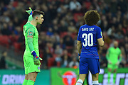 Kepa Arrizabalaga (1) of Chelsea refuses to be substituted Wilfredo Caballero (13) of Chelsea even after David Luiz (30) of Chelsea confronts him during the Carabao Cup Final match between Chelsea and Manchester City at Wembley Stadium, London, England on 24 February 2019.