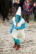 Granville Carnival, Normandy, France. Main procession, on the last Sunday before Lent. The carnival in Granville is the largest in Normandy, drawing some 120,000 people to this small town on the coast with a population of just 10,000, and has been running for 141 years (15 February 2015). © Rudolf Abraham
