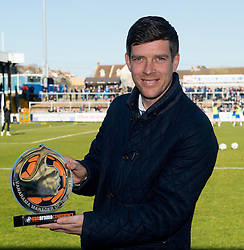 Bristol Rovers Manager, Darrell Clarke with his manager of the month award  - Photo mandatory by-line: Joe Meredith/JMP - Mobile: 07966 386802 - 07/03/2015 - SPORT - Football - Bristol - Memorial Stadium - Bristol Rovers v Eastleigh - Vanarama Football Conference