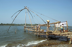 Chinese fishing nets at Cochin; Kerala; India,