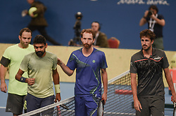 February 10, 2018 - Sofia, Bulgaria - Robin Haase and Matwe Middelkoop of (Netherlands), right win their 1/ 2 final match over Divij Sharan(India) and Scott Lipsky(USA),left 64 62, during DIEMAXTRA Sofia Open 2018 in Arena Armeec Hall in Sofia, Bulgaria on February 10, 2018  (Credit Image: © Hristo Rusev/NurPhoto via ZUMA Press)