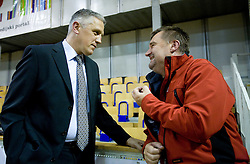 Peter Vilfan and Jure Jez at third finals basketball match of Slovenian Men UPC League between KK Union Olimpija and KK Helios Domzale, on June 2, 2009, in Arena Tivoli, Ljubljana, Slovenia. Union Olimpija won 69:58 and became Slovenian National Champion for the season 2008/2009. (Photo by Vid Ponikvar / Sportida)